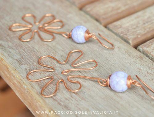 orecchini estivi fiori in rame fai da te