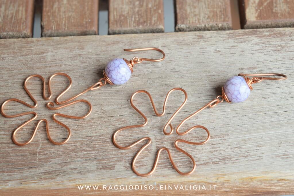 orecchini estivi fiori in rame