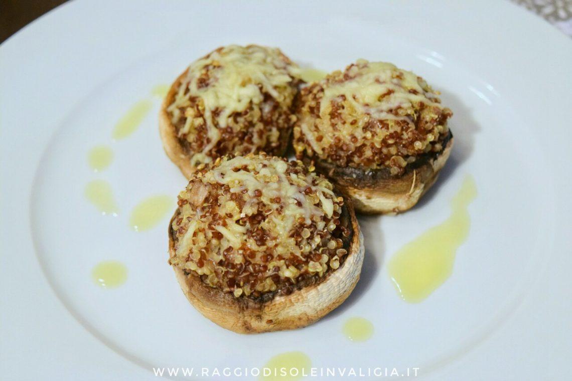 Funghi ripieni di quinoa, ricetta semplice
