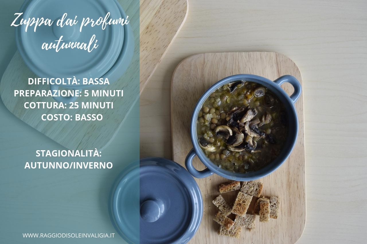zuppa calda dai profumi autunnali con lenticchie, zucca e funghi