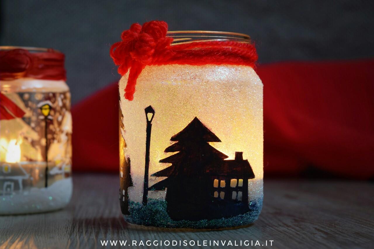 diy porta candele homemade per natale/inverno