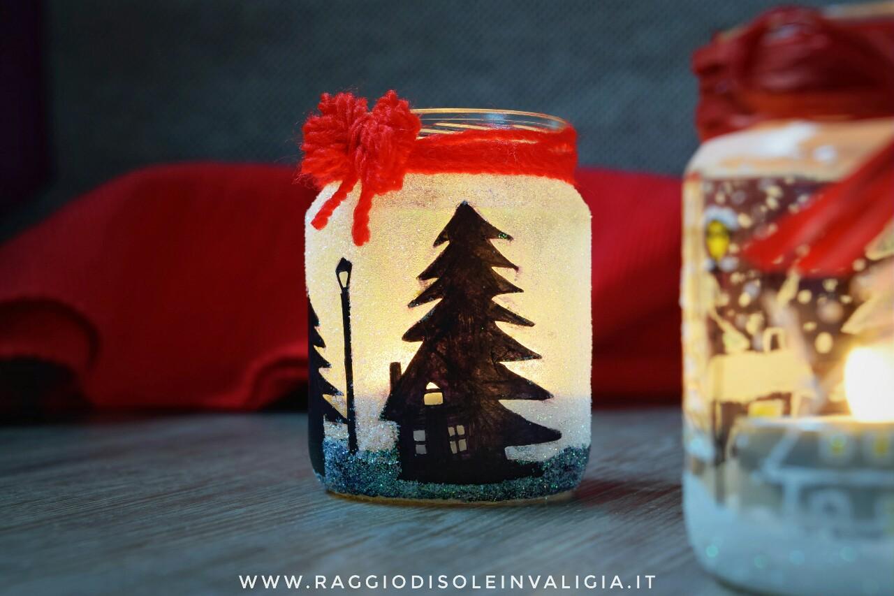 porta candele homemade di riciclo per natale/inverno
