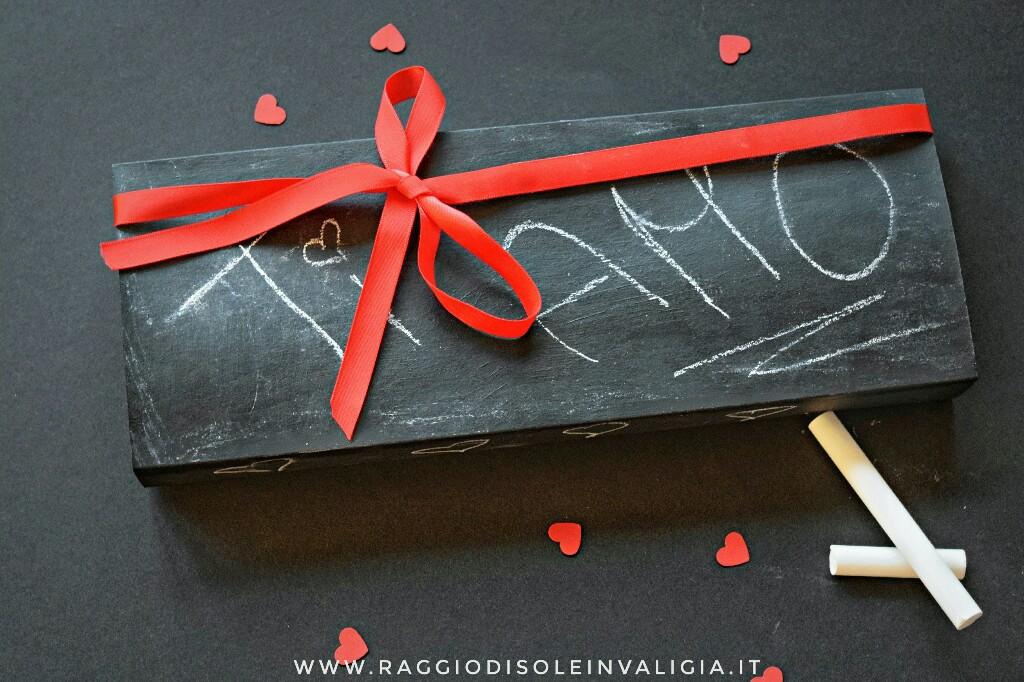 Packaging fai da te: scatola a fiammifero vernice lavagna