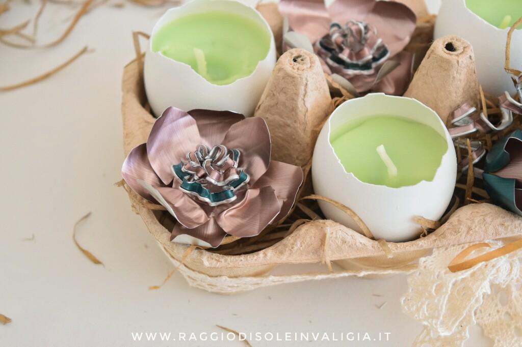 candele nel guscio d'uovo centrotavola di riciclo