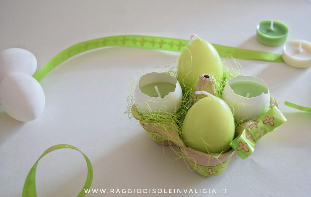 candele nel guscio d'uovo centrotavola