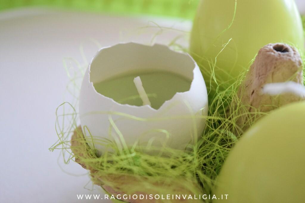 candele nel guscio d'uovo per Pasqua