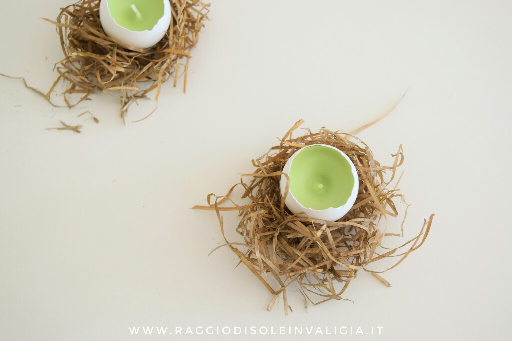 candele nel guscio d'uovo per primavera