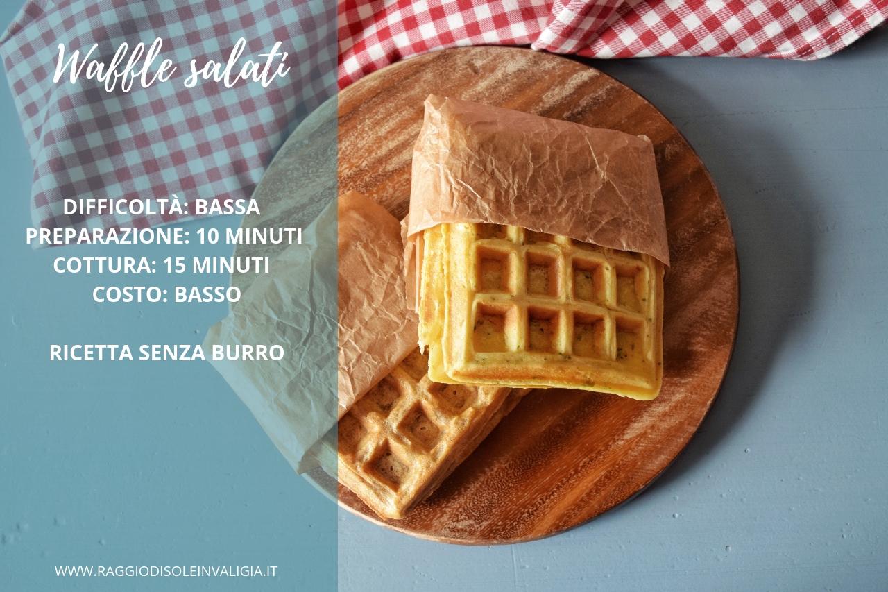 waffle salati, senza burro in due versioni