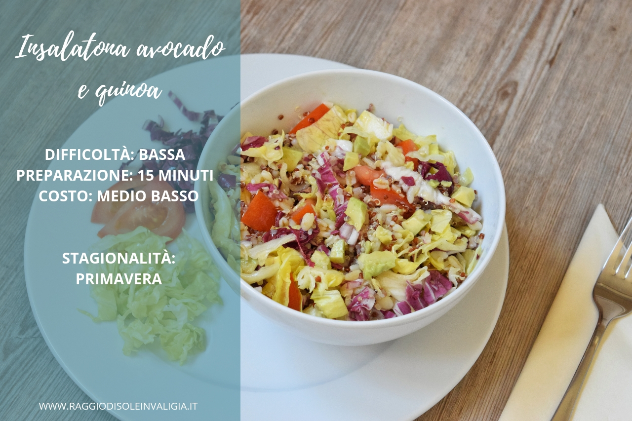 Insalatona con avocado e quinoa primaverile