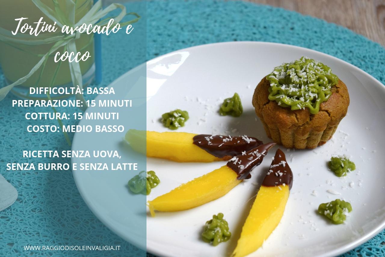 Tortini avocado e cocco vegani