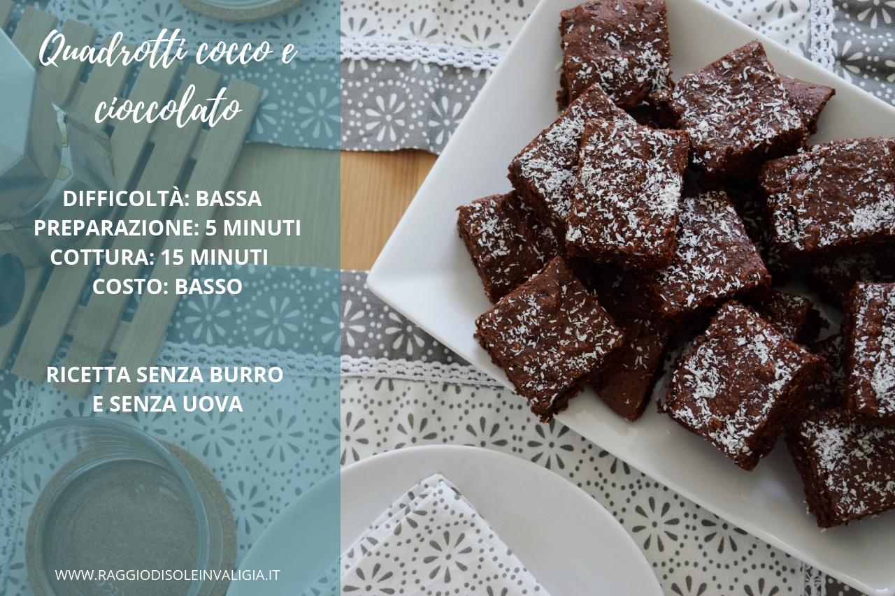 dolcetti cocco e cioccolato senza uova e senza burro, ricetta semplice