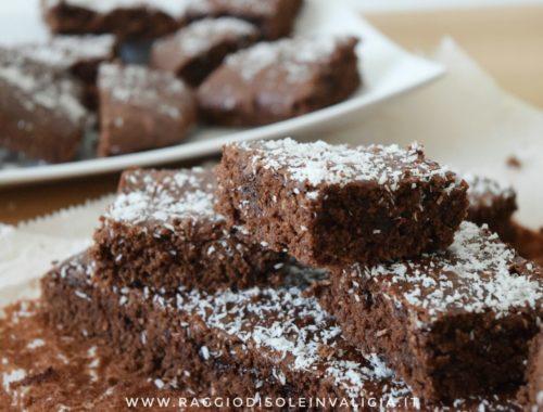 quadrotti cocco e cioccolato, ricetta semplice e veloce