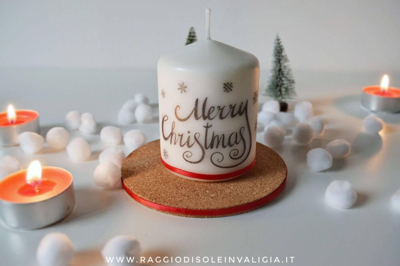 Candela decorativa fai da te per Natale