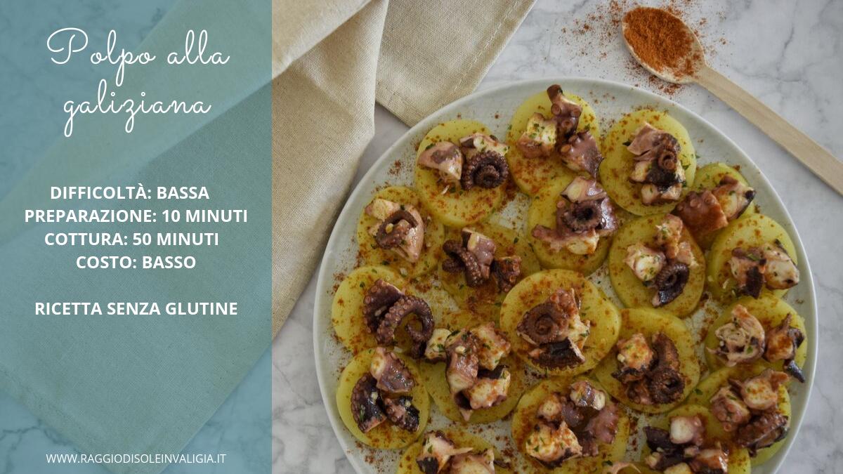 Ricetta semplice del polpo alla galiziana con patate e paprika, ricetta senza glutine