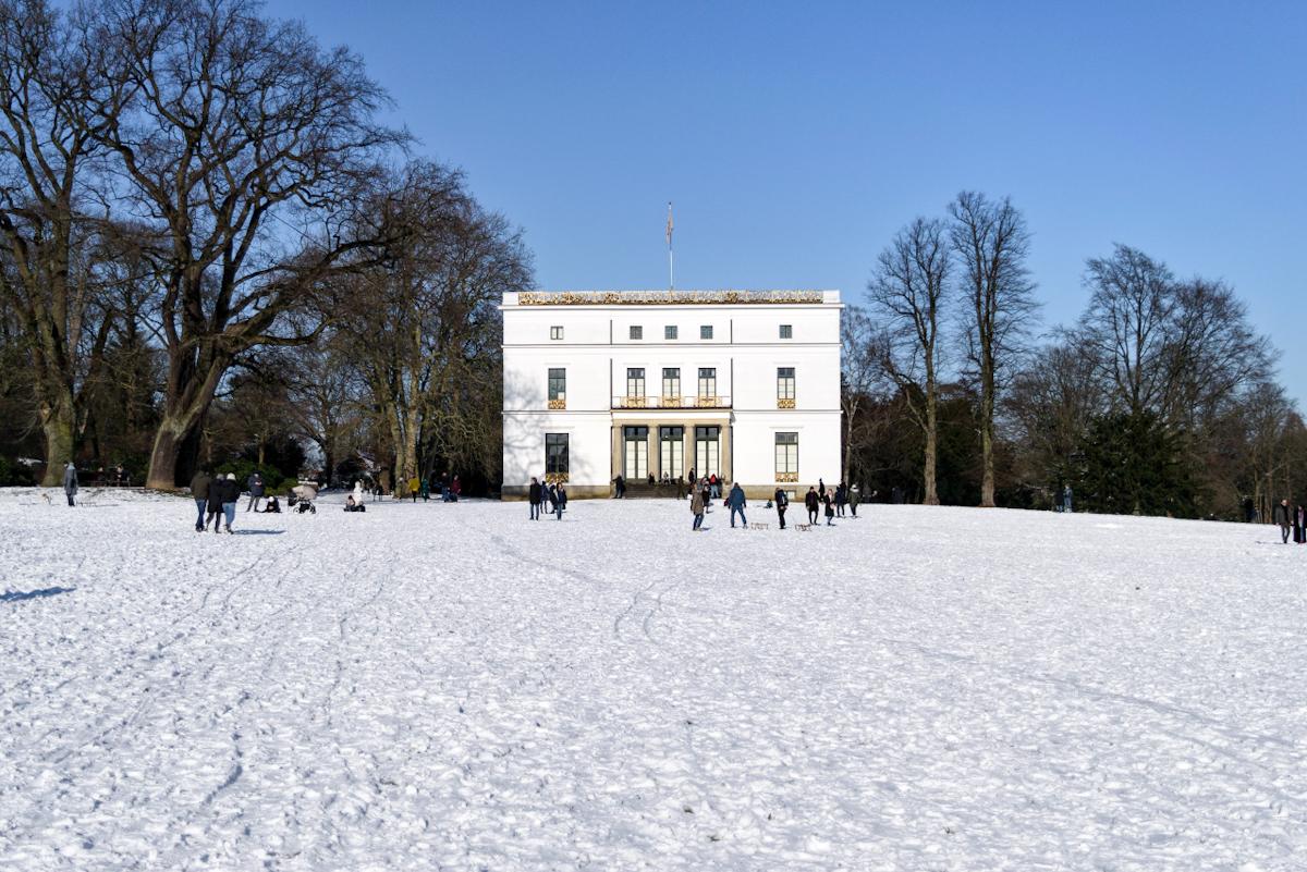 Jenisch hause nello Jenischpark, passeggiata ad amburgo con la neve