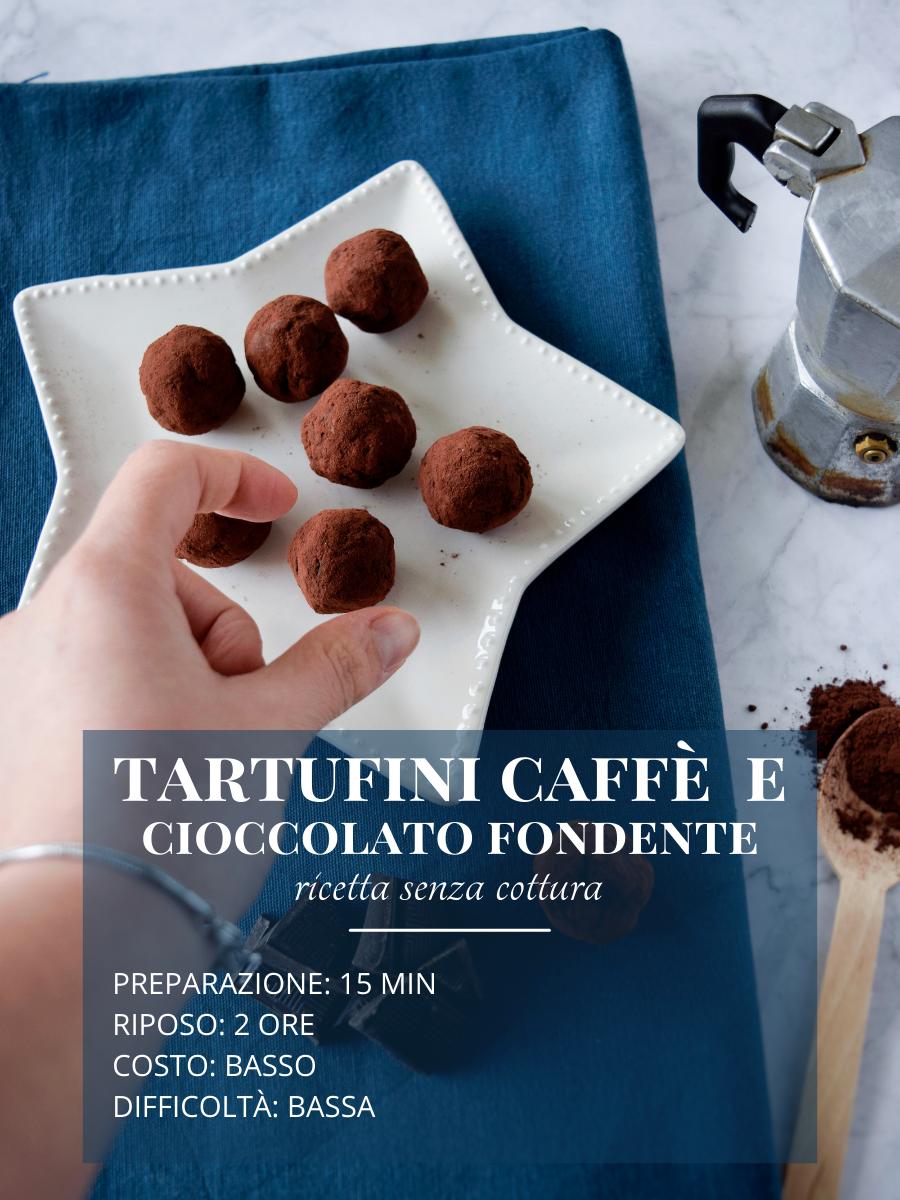 Ricetta facile e senza cottura, tartufini al cioccolato fondente e caffè