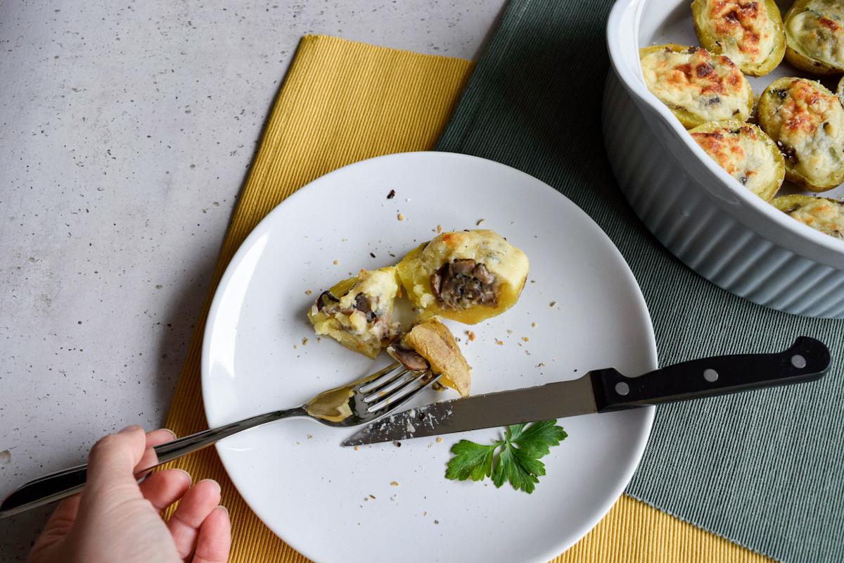 Patate ripiene con funghi e besciamella